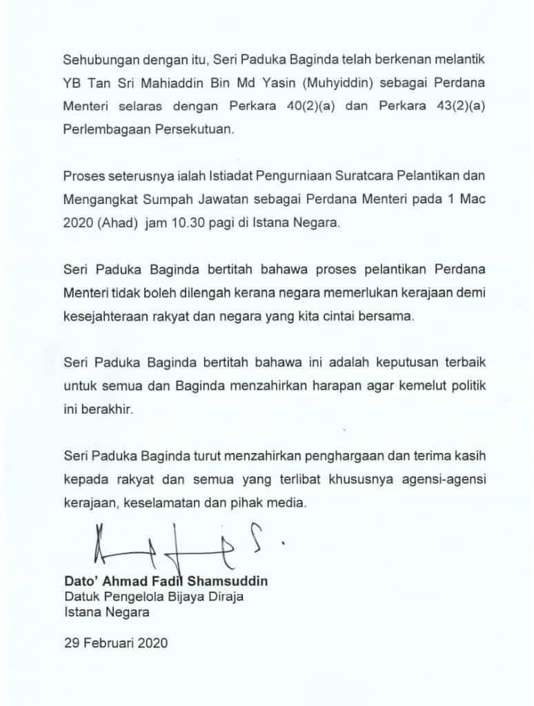 Kenyataan-Istana-Negara-PM-Ke-8-Malaysia